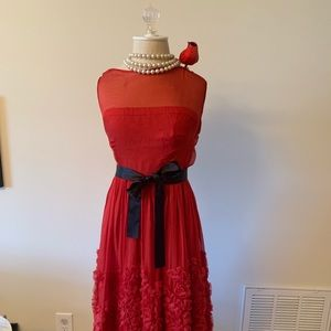 Red Anthropologie chiffon cocktail dress!